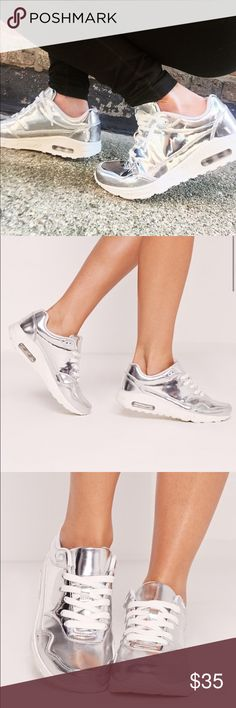 04f2f66224 Mirrored lace up bubble trainers Missguided Size 9 mirrored silver lace up  sneakers. Eye catching