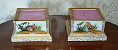 2 of 5: Antique Dresden Hand Painted Pedestal Vase Bases Pair of Helena Wolfsohn
