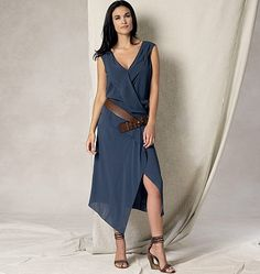 Purchase Vogue Patterns 1489 Misses' Draped V-Neck Dress and read its pattern reviews. Find other Dresses,  sewing patterns.