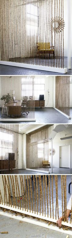 beautiful rope room divider - would be cool to do with ribbons or other strands