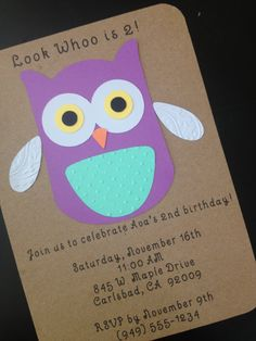 Owl Invitation for Kid's Birthday Party Set of 8 by SimpleandPosh #owlbirthday #owlinvitation