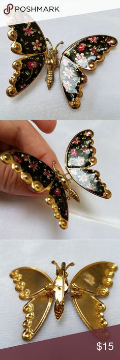 "Vintage Butterfly with Wings on Springs! Beautiful vintage butterfly pin, with wings attacked to body with 4 tiny springs. This makes it ""flutter"" when pinned on your coat, hat, or purse. The goldtone metal appears to be painted with black, and decorated with glittering flowers, then laquered. 1.75 inches wide and tall, in great condition, unmarked. Vintage Jewelry Brooches"