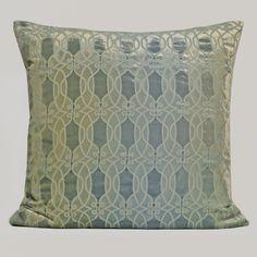"""Kevin O'Brien Studio Links devore velvet pillow in """"Ice""""."""