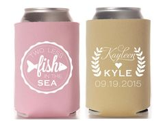 Personalized Wedding Favors Wedding Favors Wedding Gifts Custom Can Coolers Fisherman Wedding Favors Two Less Fish in the Sea 1112 by SipHipHooray