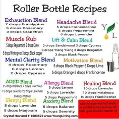 Essential oil roller bottle recipes using Young Living oils. LEARN MORE I love my oils! Happy to answer questions and help. My Essential Oils, Young Living Essential Oils, Essential Oil Diffuser, Essential Oil Blends, Doterra Diffuser, Roller Bottle Recipes, Diffuser Recipes, Young Living Oils, Aromatherapy Oils