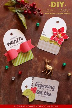 DIY Gift Tags Using Right at Home Holiday Stamps