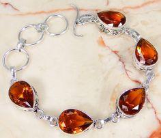 Quartz Citrine & 925 Silver Handmade Lovely Bracelet 195mm Y7-1349 & gift box