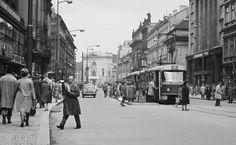 Příkopy (3665-1), Praha, duben 1965 •  black and white photograph, Prague  Prague Photos, Czech Republic, Vintage Images, Old Photos, Street View, In This Moment, Black And White, Retro, Photography