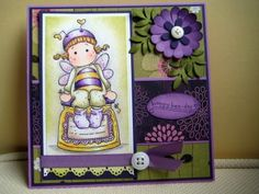 Adorable Magnolia Purple Bee Card