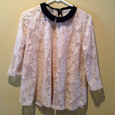 SALEZara Lacey top This top is toally lace so you will need to wear a cami under it..worn twice. Zara Tops