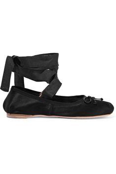 Miu Miu Buckled Leather and Satin Ballet Flats