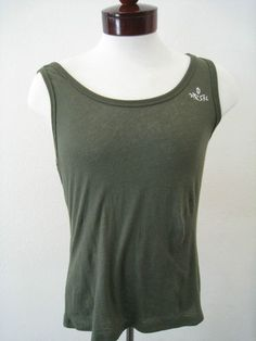 Diesel Tank Top NWT Men's Sz L Olive Green Cotton Logo Embroidery
