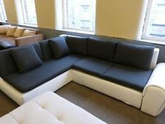 City Corner Sofa Bed White Eco/Grey Fabric Halifax Picture 1