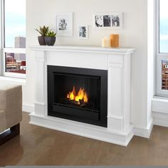 Real Flame White Silverton Fireplace | Overstock.com Shopping - The Best Deals on Indoor Fireplaces