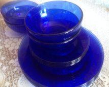 Vintage 12 PC Dinner service for (4) Cobalt Blue Glass salad plates, Cereal Bowls and Dinner Plates-