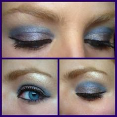 mally beauty eye amplifying shadow liners. cobalt in crease and deep taupe on lid