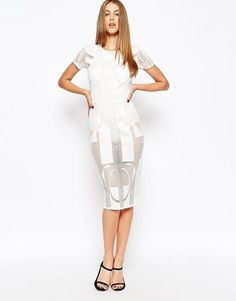 ASOS COLLECTION ASOS Geo Lace Body-Conscious Midi Dress - Shop for women's Dress - ivory