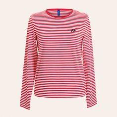 <p>Langærmet t-shirt i rød/hvid strib med sort kontrast logo på brystet <span>fra vores basic kollektion, FLAG by Résumé.</span></p> <p>95% cotton / 5% elastan.</p>