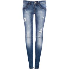 Pull & Bear Ripped Skinny Fit Jeans (53 BRL) ❤ liked on Polyvore featuring jeans, pants, bottoms, calças, medium blue, ripped jeans, destroyed jeans, destructed jeans, destroyed denim skinny jeans and blue skinny jeans