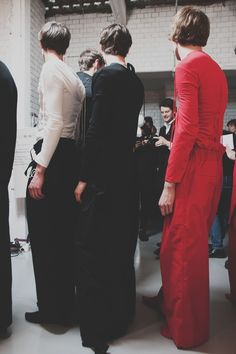 White, black and red backstage at Craig Green AW15 LCM. See more here: http://www.dazeddigital.com/fashion/article/23182/1/craig-green-aw15