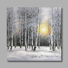 Ready to Hang Stretched Hand-Painted Oil Painting Canvas Wall Art Silver Birch…