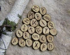 Hazel Rune Set, Wooden Elder Futhark runes, hand made rune set, witches rune set, tool for wiccans and pagan rituals by WitchTools on Etsy