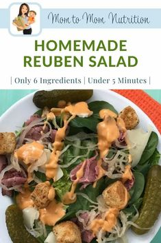 #ad Homemade Reuben Salad is just that: A Reuben sandwich deconstructed in salad form. Light, healthy, and packed full of nutritious ingredients. Good Healthy Recipes, Meat Recipes, Salad Recipes, Roast Beef Deli Meat, New Recipes For Dinner, Healthy Lunches, Healthy Salads, Thanksgiving Recipes, Family Meals