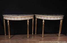 Periods & Styles Search For Flights Pair Of Painted Adam Influenced Demi Lune Consul Tables High Standard In Quality And Hygiene
