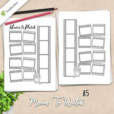 Movies To Watch PRINTABLE, films planner, A5 Planner Inserts, A5 Half Letter, Coloring planner, films Inserts, Planner Organizer