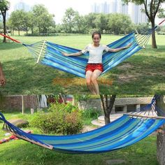 Unihome# Canvas Double Spreader Bar Hammock Outdoor Camping Swing Hanging Bed Blue Free Shipping