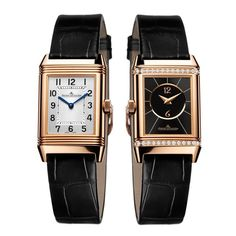 Jaeger-LeCoultre Reverso Duetto watch in pink gold on a black leather alligator strap. Discover the iconic fashion watches for women that will never go out of style: http://www.thejewelleryeditor.com/videos/luxury-watches/timeless-design-top-5-iconic-watches-for-women-bulgari-chanel-patek-philippe/?action=play  #luxury