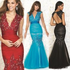Sexy Black Blue Burgundy Prom Dresses 2015 Vestidos de Formatura Lace Mermaid Backless Evening Gown V Neck Crystal E6552