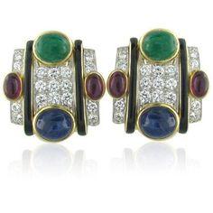 David Webb 18k Gold Platinum Gemstone Diamond Earrings
