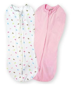 Take a look at this Pink & White Bow Stage 1 SwaddlePod Sleeping Sack Set by Summer Infant on #zulily today!