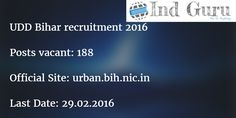 UDD Bihar recruitment 2016 urban planner notification 188 Vacancies download engineer application form from official online site urban.bih.nic.in