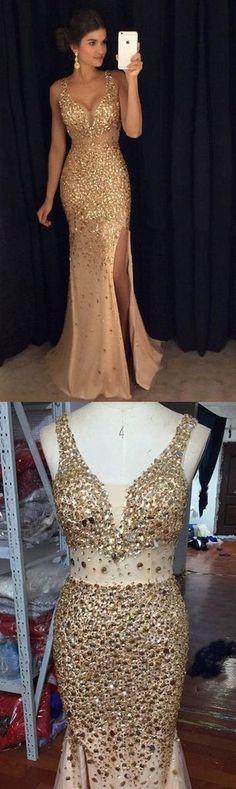 Gold Mermaid V-Neck Beads Sleeveless Prom Dresses,Side Slit Elegant Prom Dress,Plus size Evening Dress,Tulle Party Dresses,Prom Dresses TG654,#gold#tulle#beads#splitfront#promdress#long#sleeveless