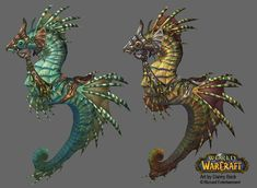 World of Warcraft art by Danny Beck. I think these might be seahorse steeds, equipped for riding, but I think they look like very special helmets :-D