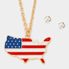 4th Of July American flag Map Pendant Necklace