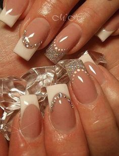 French manicure with a shot of bling!