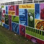 This mural reflects the hobbies and interests of kids. Brilliant!