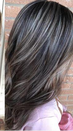 Brown Hair With Silver Highlights, Grey Brown Hair, Grey Ombre Hair, Hair Color Highlights, Light Brown Hair, Grey Hair Transformation, Covering Gray Hair, Short Sassy Hair, Mom Hairstyles