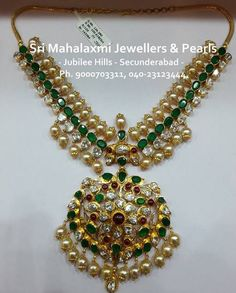 Jewellery Designs: 110 Grams Pachi Emerald Necklace