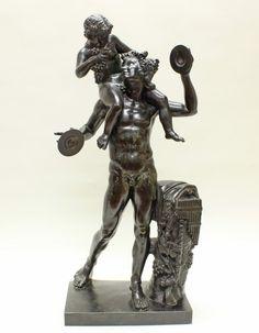 """Chiurazzi, J. (gründete in den 1870er Jahren eine namhafte Gießerei in Neapel mit Spezialisierung auf Bronzen nach antiken Vorbildern), Bronze, schwarz patiniert, """"Bacchus und Faun"""", auf dem Sockel bezeichnet Chiurazzi Napoli, 84 cm hoch, leicht fleckig"""
