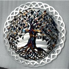Metal Tree Art Tree of Life Infinity Tree Wall Decor Wall Art Home... ($286) ❤ liked on Polyvore featuring home, home decor, wall art, grey, home & living, home décor, wall décor, branch wall art, tree branch wall art and word wall art