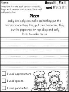 Fix It Up Sentences (February) Kindergarten Lessons, Kindergarten Writing, Kids Writing, Teaching Writing, Writing Practice, Literacy, Hand Writing, Writing Sentences Worksheets, First Grade Worksheets