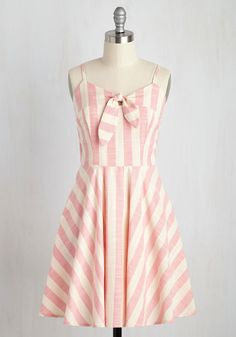 Sunny How That Works Dress in Pink Stripes. When you add this cotton dress to the frame of one sweet gal, the result is something splendid. #pink #modcloth