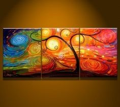 Tree of Life Abstract Hand-painted 3-piece Modern Stretched Oil Painting on Canvas