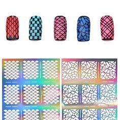 2016 New 1pcs Silver Hollow Stencil Nail Stickers Fish Scale Pattern DIY Nail Stamping Polish Guide Manicure Tools 2016 - $1.99