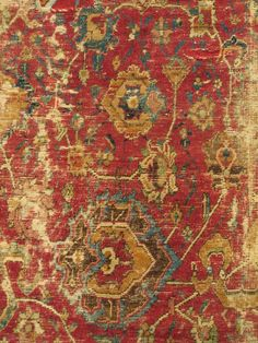 """Central Persian Carpet, Safavid era, first half 17th century, silk and cotton warp, cotton weft, lac red ground, fine weave, cut and shut, scattered old repair and damage, still majestic. size= 4'8""""x6'"""