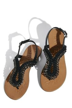 Black rhinestone sandals <3